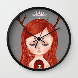 Looming Darkness - Lacuna (Little Red-Haired Girl with Antlers and Crown) Wall Clock