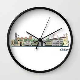 Lisbon skyline colored Wall Clock