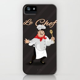 Le Chef Kitchen decor French chef with a mustache cartoon character illustration iPhone Case
