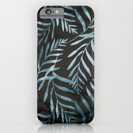 Turquoise Fern Palm Leaves on Black Marble iPhone Case