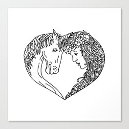 Unicorn and Maiden Heart Drawing Canvas Print
