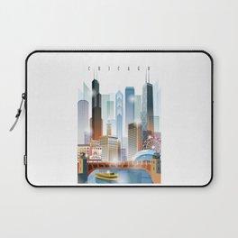 Chicago city skyline painting Laptop Sleeve