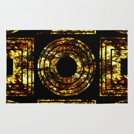 Golden Shapes - Abstract, black and gold, geometric, metallic textured artwork Rug