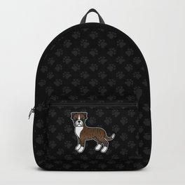 Cute Brindle Boxer Dog Cartoon Illustration Backpack