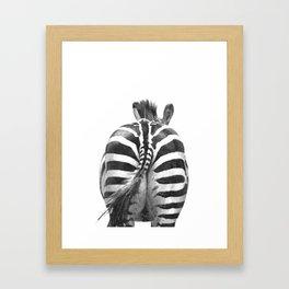 Black and White Zebra Tail Framed Art Print