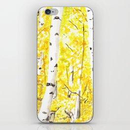 Yellow Aspen Trees Watercolor art Painting Yellow Birches wall hanging wall Art iPhone Skin