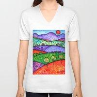 north carolina V-neck T-shirts featuring Landscape - Boone, North Carolina by Karen Hickerson