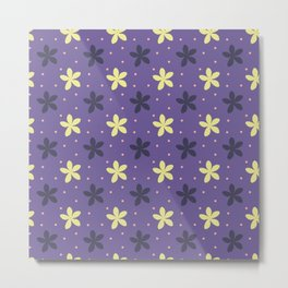 Ultra violet seamless pattern with flowers and dots Metal Print