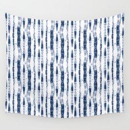 Shibori Stripes 2 Indigo Blue Wall Tapestry