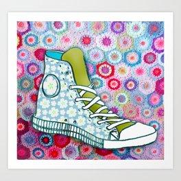 Flowery trainers Art Print