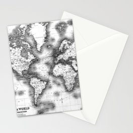 Black and White World Map (1911) Stationery Cards