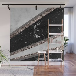 Black and White Marble Rose Gold Glitter Stripe Glam #1 #minimal #decor #art #society6 Wall Mural