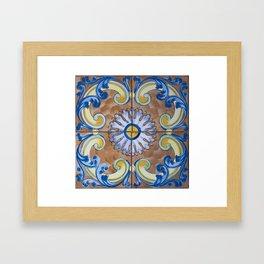 Vintage Italian Majolica Single Tile Group Framed Art Print