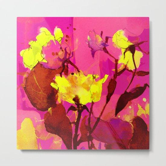 yellow flowers on fuchsia Metal Print