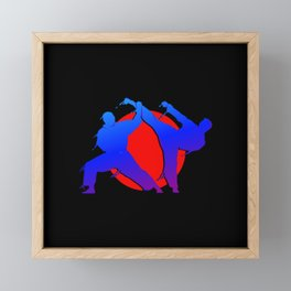 Illustration martial art fighters with red sun Framed Mini Art Print