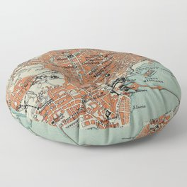 Vintage Map of Naples Italy (1911) Floor Pillow