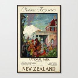 Château Tongariro Ntal Park, New Zealand - Vintage Poster Canvas Print