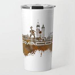 Cracow skyline city brown #cracow #skyline Travel Mug