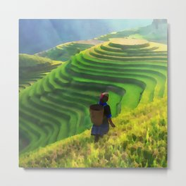 Hillside Harvest | Terraced Agriculture In China | Watercolor Painting Metal Print
