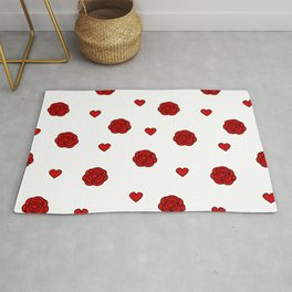 cute lovely pattern with red rose and hearts Rug