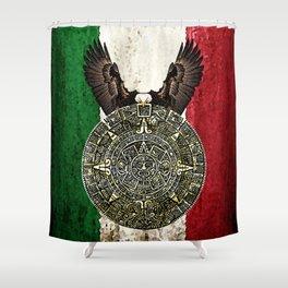 MEXICAN EAGLE AZTEC CALENDAR FLAG Shower Curtain