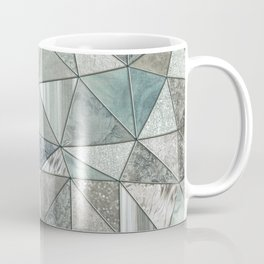 Teal And Grey Triangles Stained Glass Style Coffee Mug