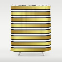 Luxe Gold Metallic and Black Stripes Pattern Shower Curtain