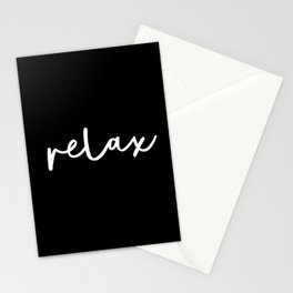Relax black and white contemporary minimalism typography design home wall decor bedroom Stationery Cards