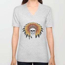 Native American Skull Unisex V-Neck