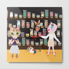 FASHIONISTA CAT CANDY STORE Metal Print