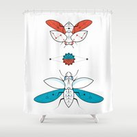 insects Shower Curtains featuring Two Insects II by Ukko