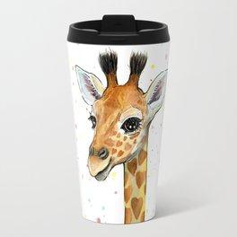 Giraffe Baby Animal with Hearts Watercolor Cute Whimsical Animals Nursery Travel Mug