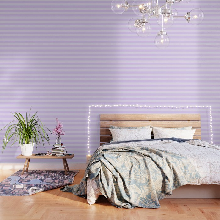 Chalky Pale Lilac Pastel Cabana Tent Stripes Wallpaper