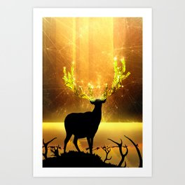 Greenery Deer - Golden Sun Art Print