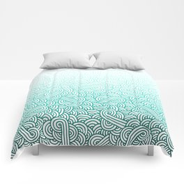 Gradient turquoise blue and white swirls doodles Comforters