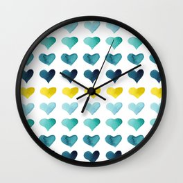 Blue Beach Hearts Wall Clock