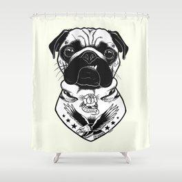 Dog - Tattooed Pug Shower Curtain