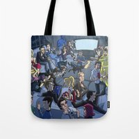 tv Tote Bags featuring TV by Anna Rettberg