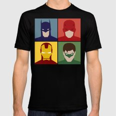 Minimalist Heroes MEDIUM Black Mens Fitted Tee