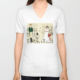 Mr.Darcy of Pemberley and Miss Bennet of Longbourn Unisex V-Neck