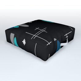 Ovals and Starbursts Black & Teal Outdoor Floor Cushion