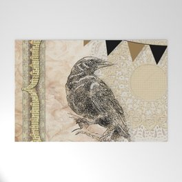 Crow, Brown Banner, Doily, Digital Design Welcome Mat