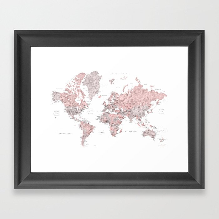 Dusty pink and grey detailed watercolor world map framed art print dusty pink and grey detailed watercolor world map framed art print gumiabroncs Choice Image