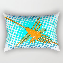 Distressed Nazca Lines Hummingbird On Gradient Blue Galaxy Rectangular Pillow