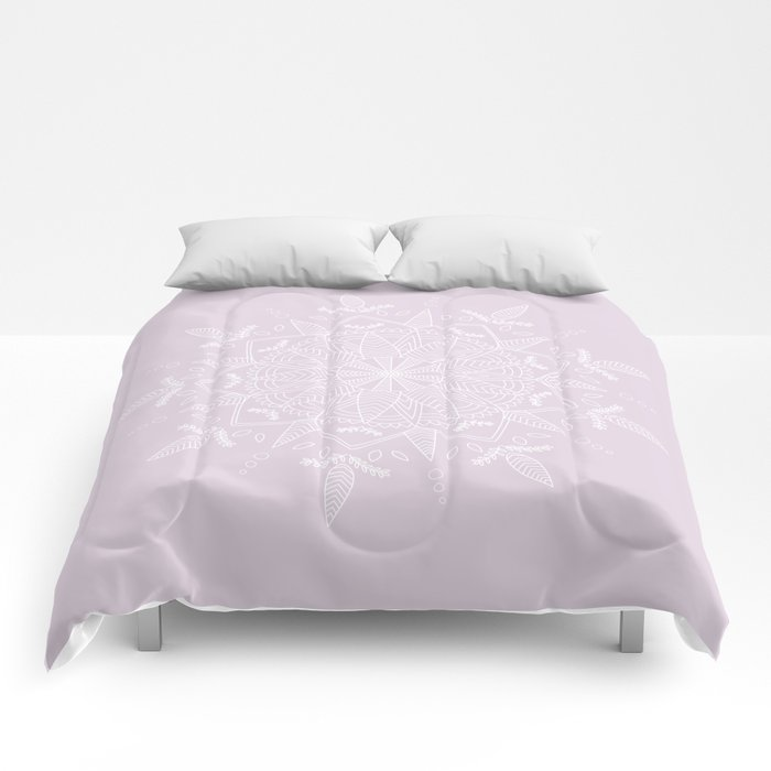 White Vector Mandala on Light Purple Comforters