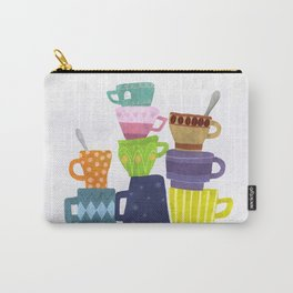 Coffee And Tea Cups And Mugs Stacked High Carry-All Pouch