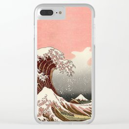 Japanese red sunset tsunami Clear iPhone Case