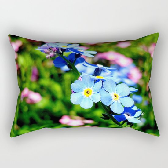 Pink And Blue Forget Me Nots Rectangular Pillow