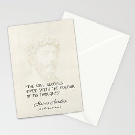 """""""The soul becomes dyed with the colour of its thoughts."""" Marcus Aurelius, Meditations Stationery Cards"""