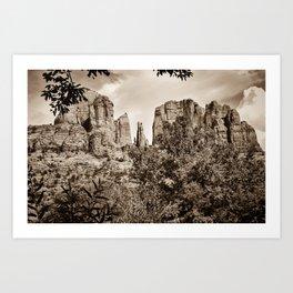 The Cathedral - Sedona Arizona - Red Rock Crossing - Sepia Art Print